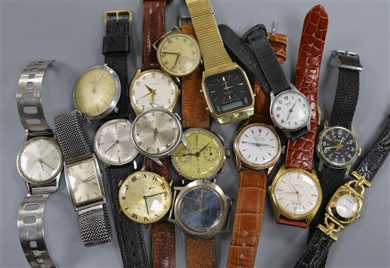A quantity of assorted wrist watches, including Zenith and Oris.